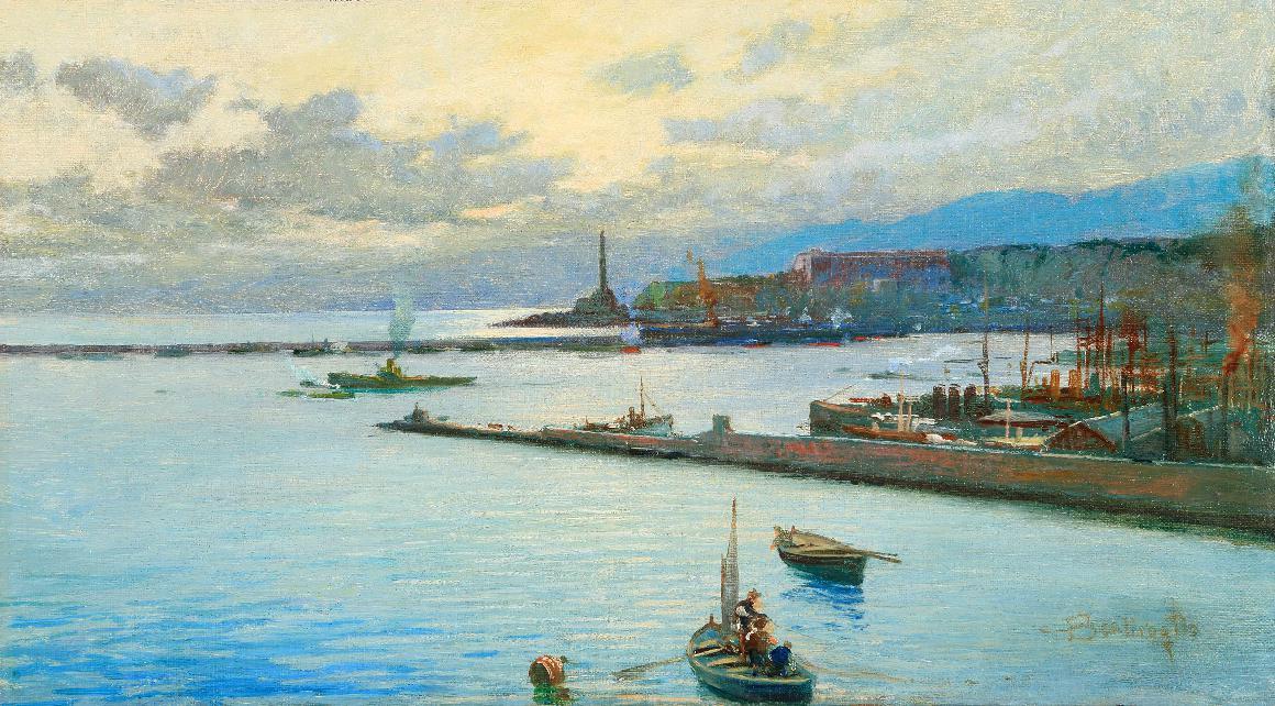 BENTIVOGLIO CESARE, Porto di Genova, olio su tela, 29x51,5 cm