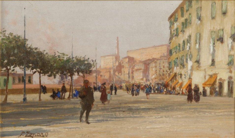 ZONARO (1854-1929) Piazza Dinegro olio su tavoletta cm. 40,5x23 f.to in b. a sx e d.to nel retro Genova 9 1917