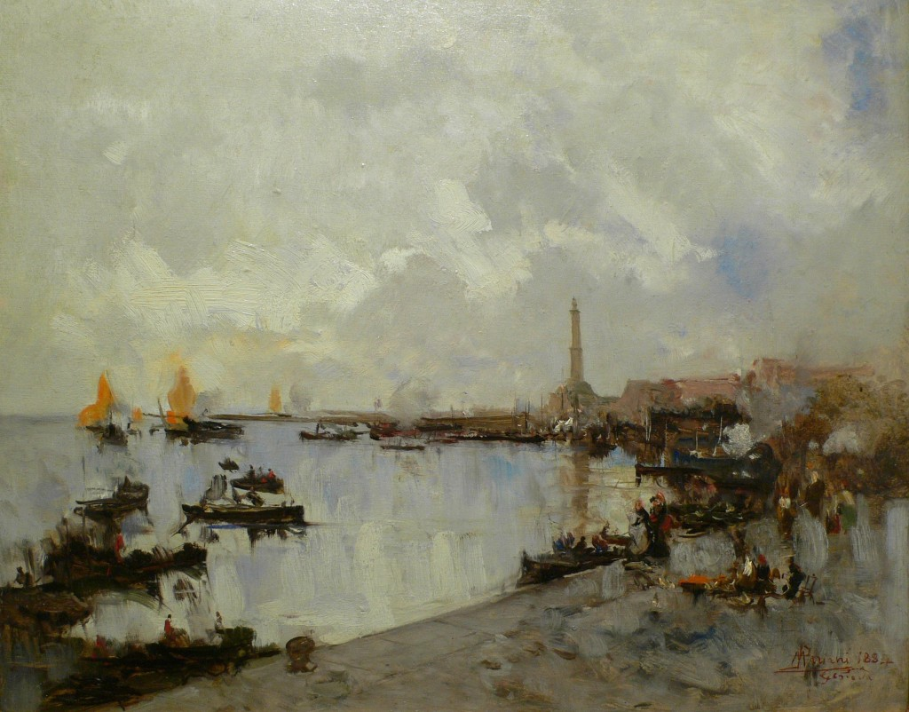 MARIANI, Porto di Genova 1884, olio tavola 37x46