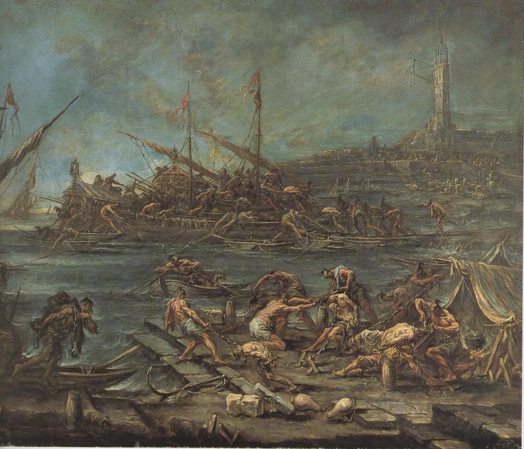 ALESSANDRO MAGNASCO, Imbarco dei galeotti nel porto di Genova, (Bordeaux, Muséè des Beaux Arts)
