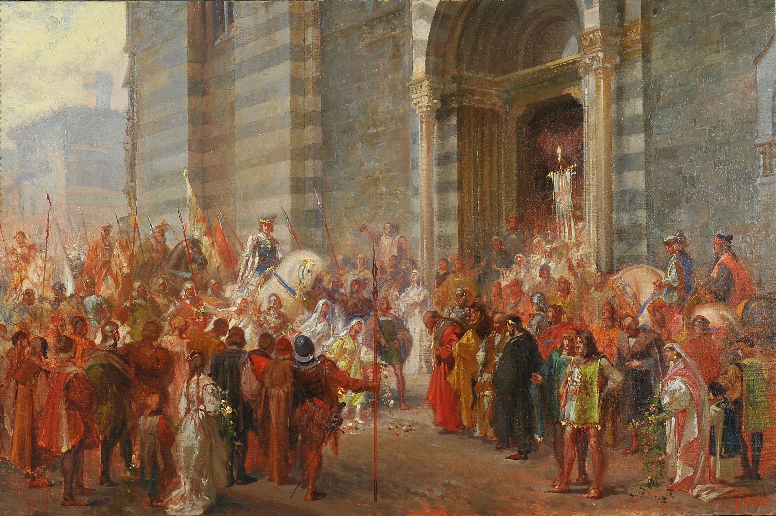 Giovanni Grifo (Alba CN 1869  Genova 1935) Gugliemo Embriaco vittorioso in San Lorenzo olio su tela firmato in basso a destra