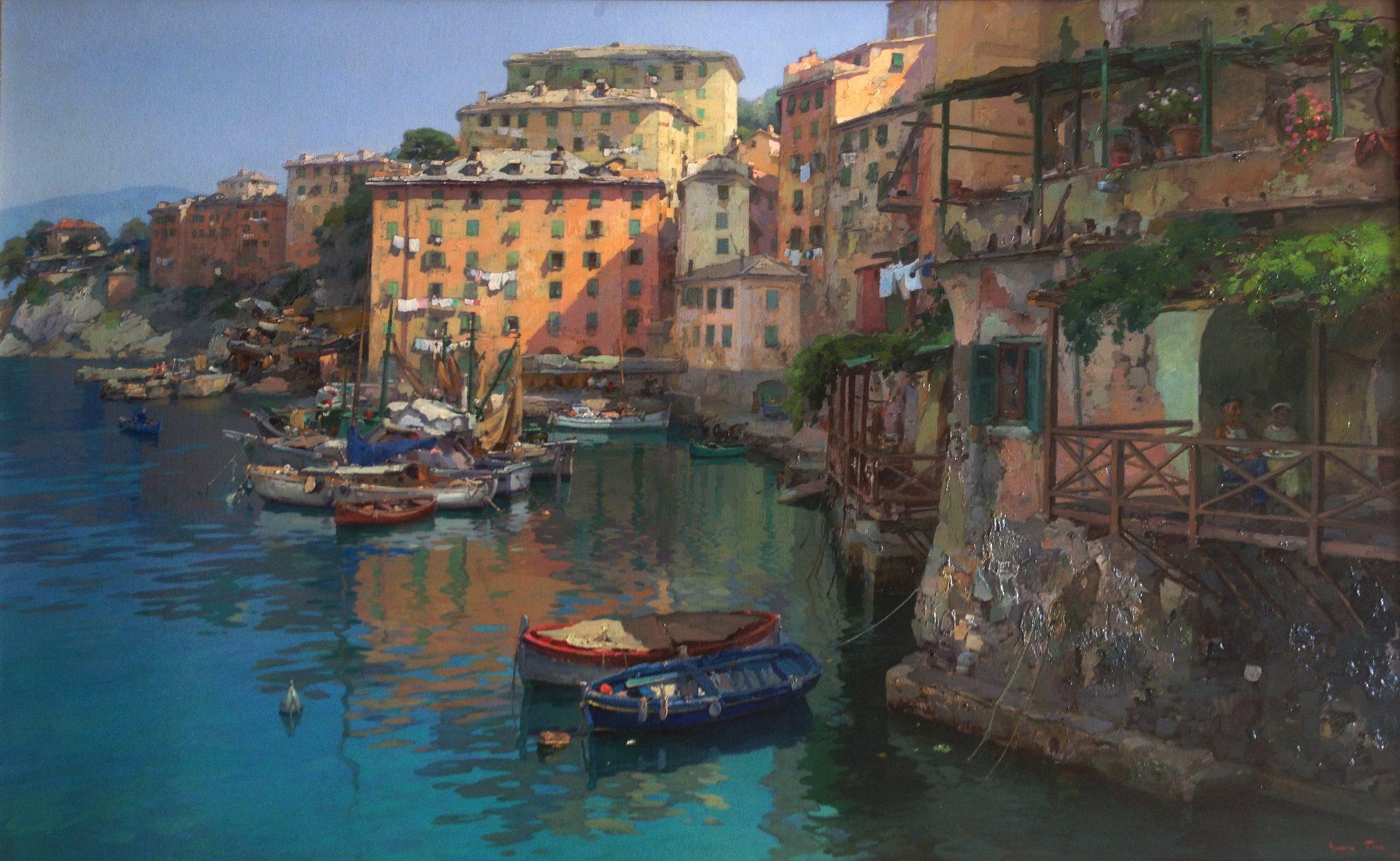Giuseppe Pesa, Il porto di Camogli, olio su tela, 95x142 cm