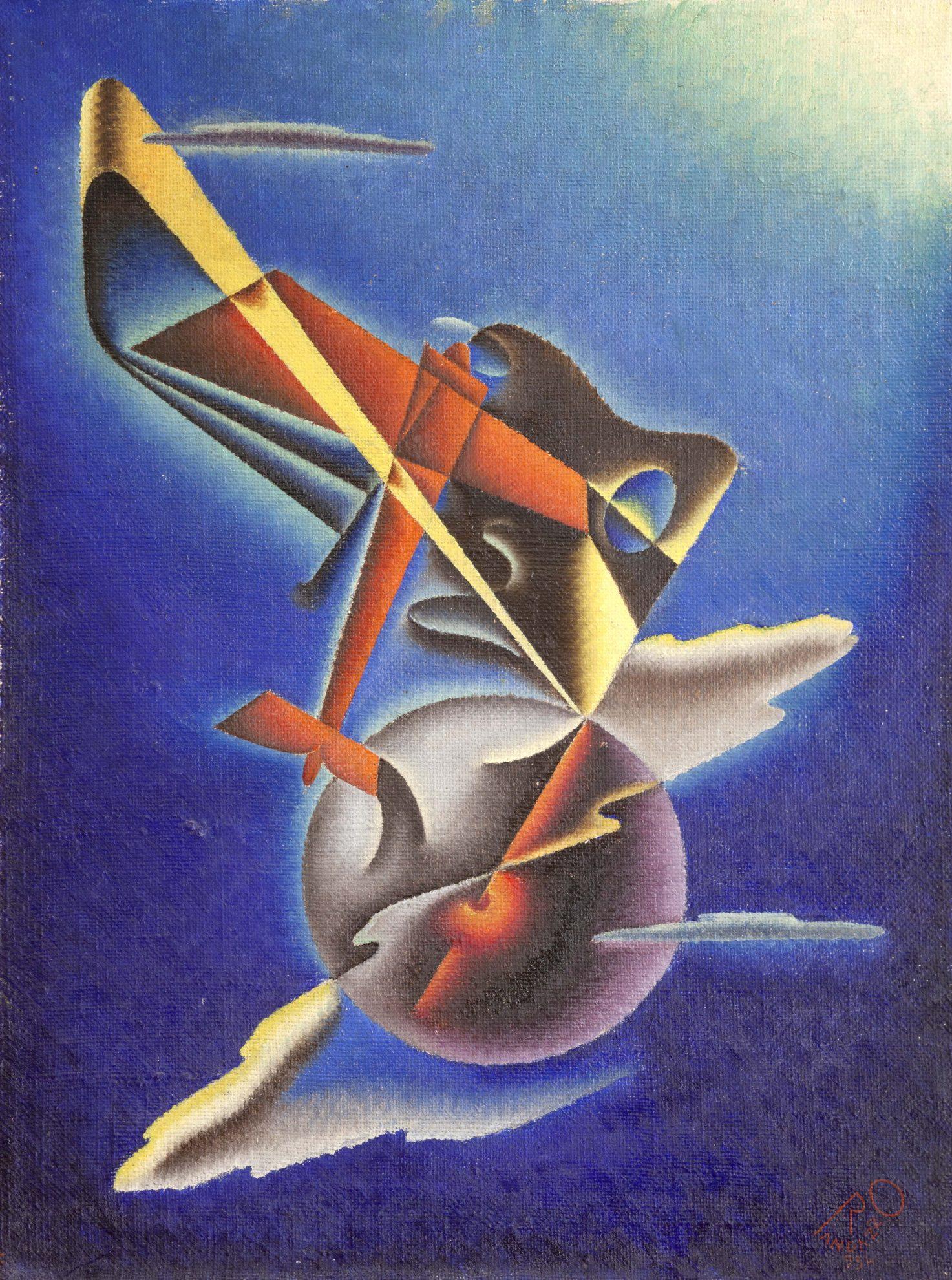 1934 ASPIRAZIONI AEROPITTORICHE olio su tela cm 101,5x71 2 Quadriennale Roma