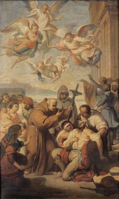 MASSABO' LEONARDO (1812-1886) San Leonardo converte un brigante olio, bozzetto del dipinto nella cappella a destra dell'altare maggiore nella Basilica di San Maurizio ad Imperia cm. 30x36, pittoriliguri.info