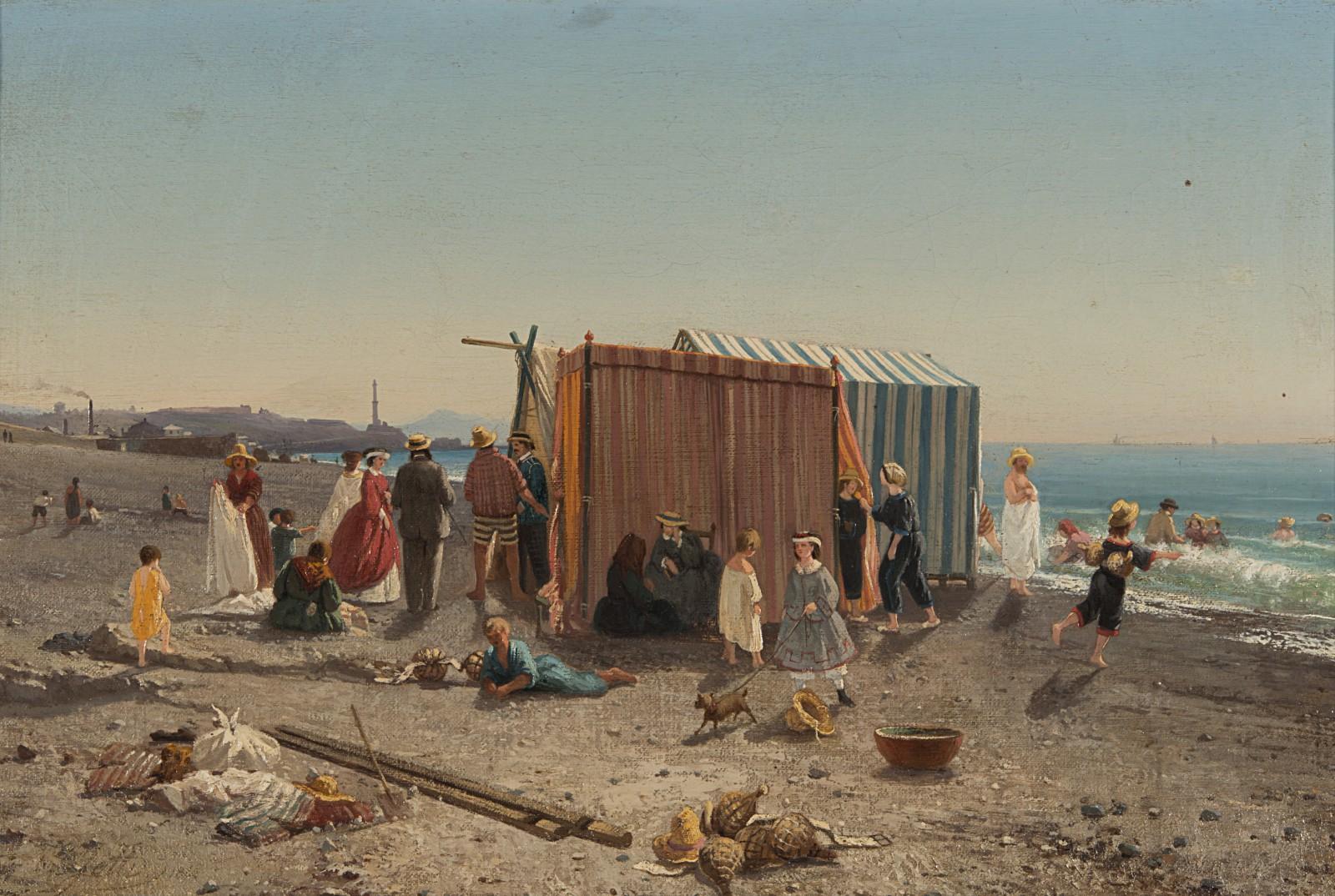 JOTTI CARLO , Riva di Cornigliano 1862, olio su tela, 39,5x59 cm-pittoriliguri.info